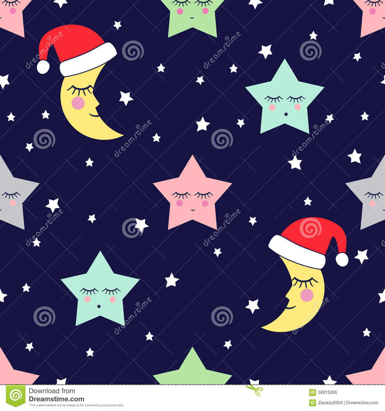 Cow Wallpaper Cute Seamless Pattern With Sleeping Stars And Moon With Santa
