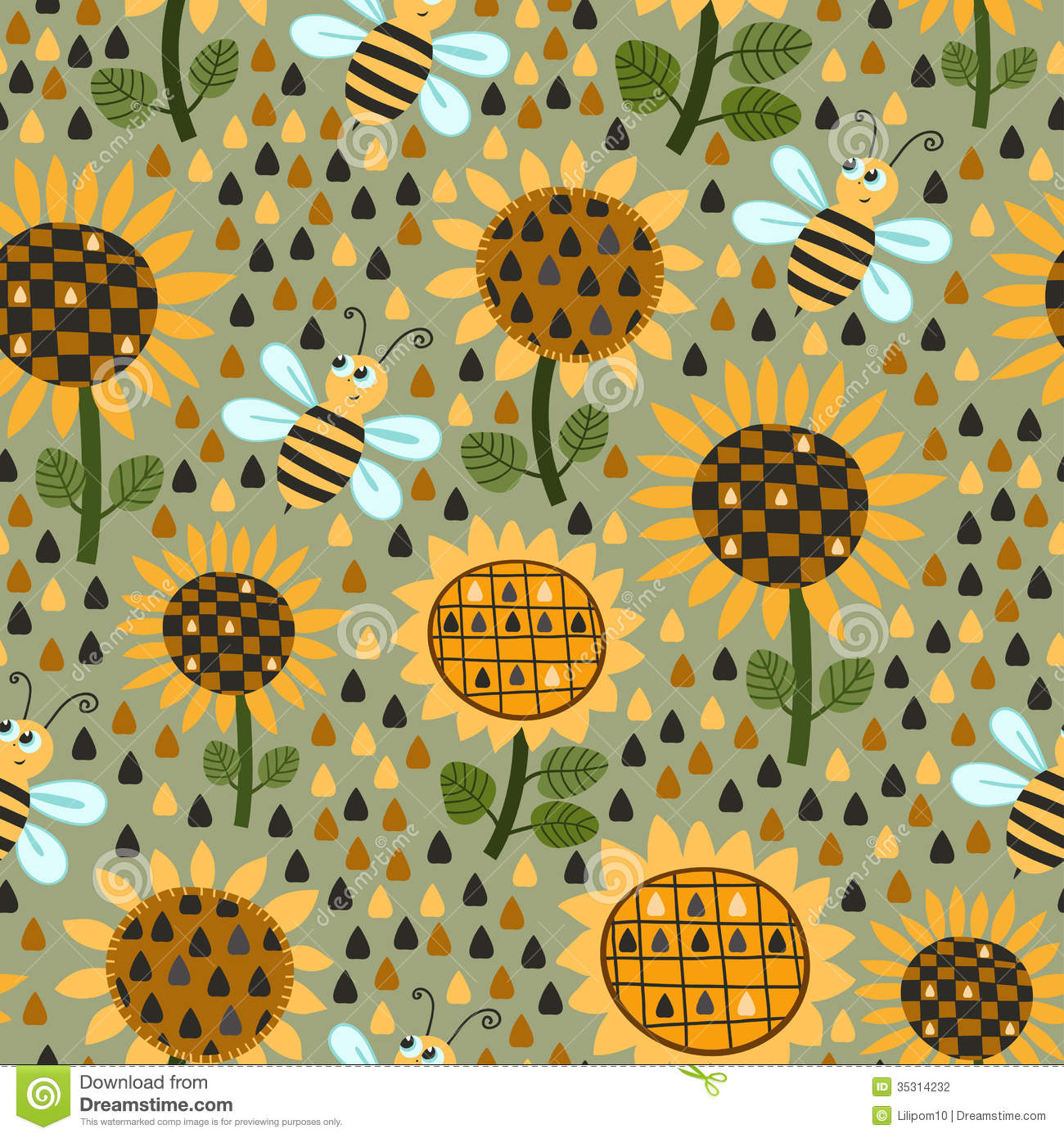 Fall Sunflowers Wallpaper Seamless Pattern With Sunflowers And Bees Stock Vector