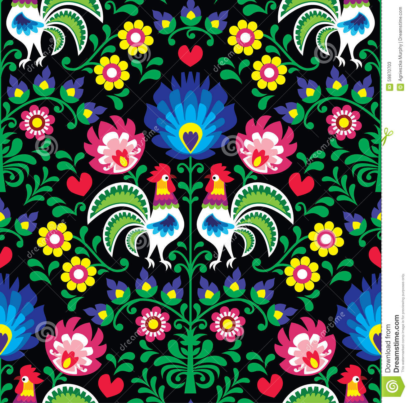 Colorful Animal Print Wallpaper Seamless Polish Folk Art Pattern With Roosters Stock