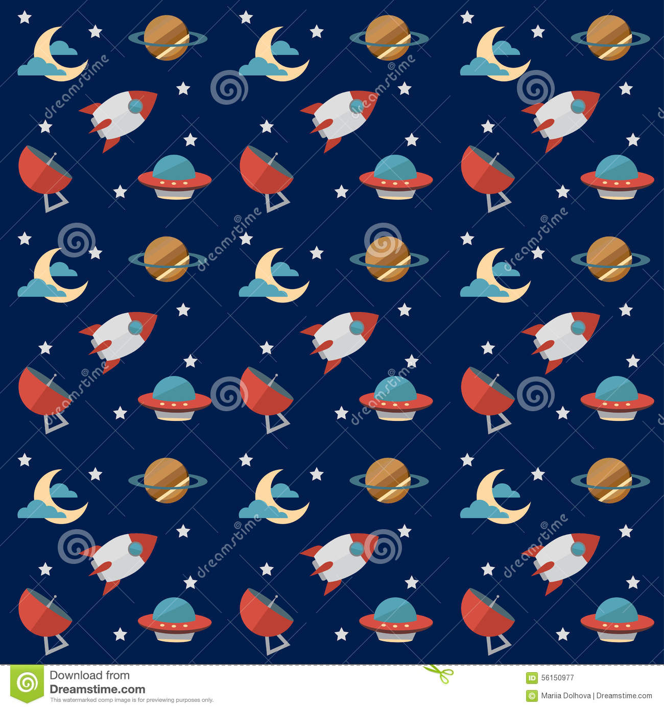 Mercury Hd Wallpaper Seamless Space Pattern With Rockets Planets Stars