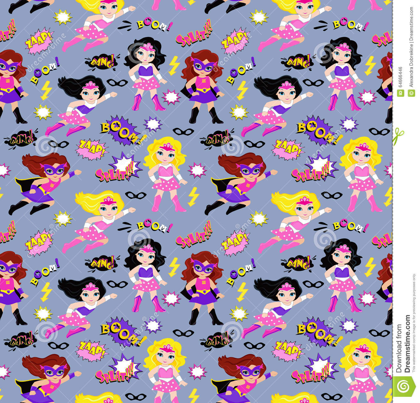 Cute Girly Pattern Wallpapers Seamless Superhero Girls Background Pattern In Vector