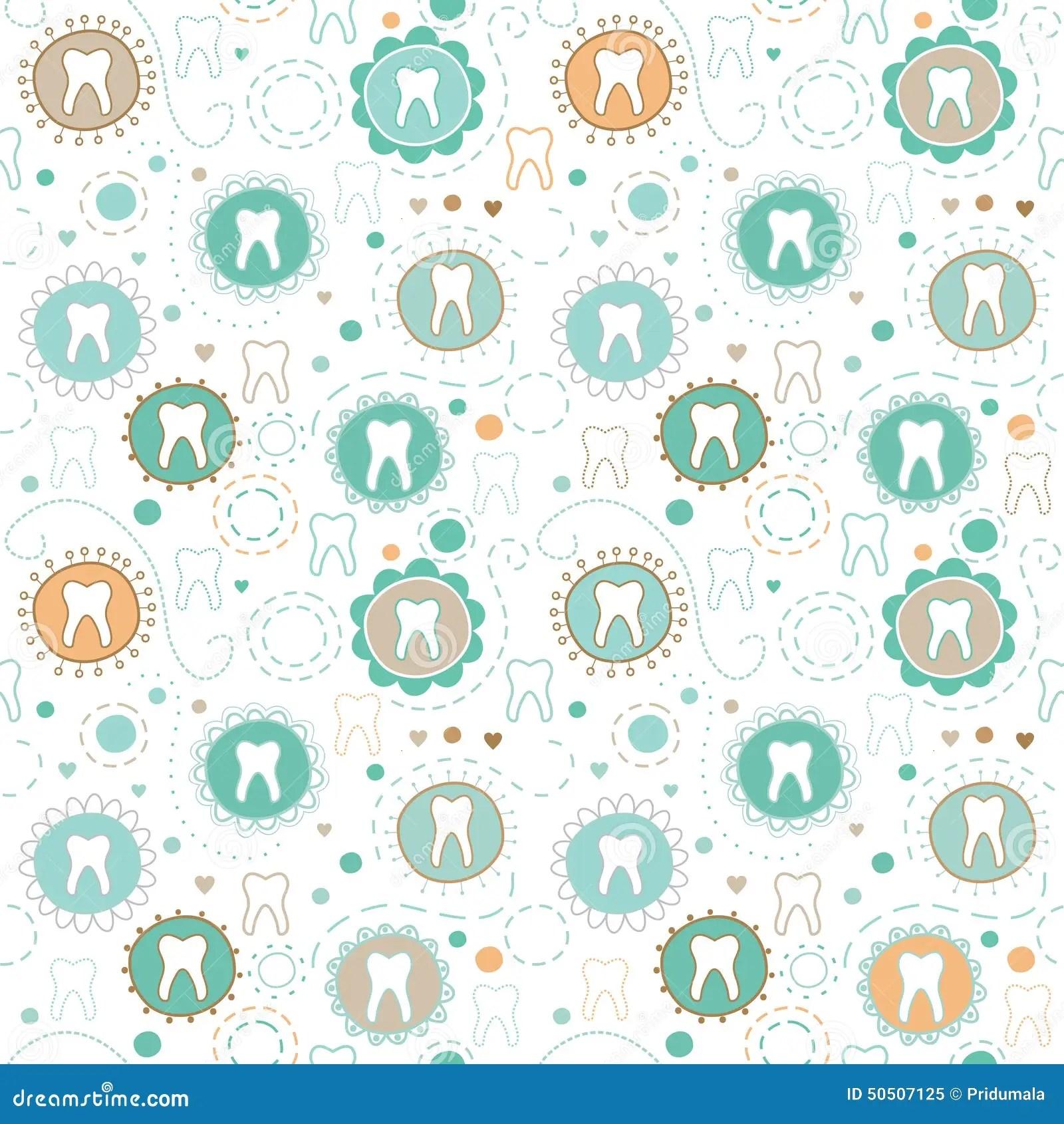 Cute Dental Wallpaper Seamless Texture With Cartoon Teeth Stock Vector