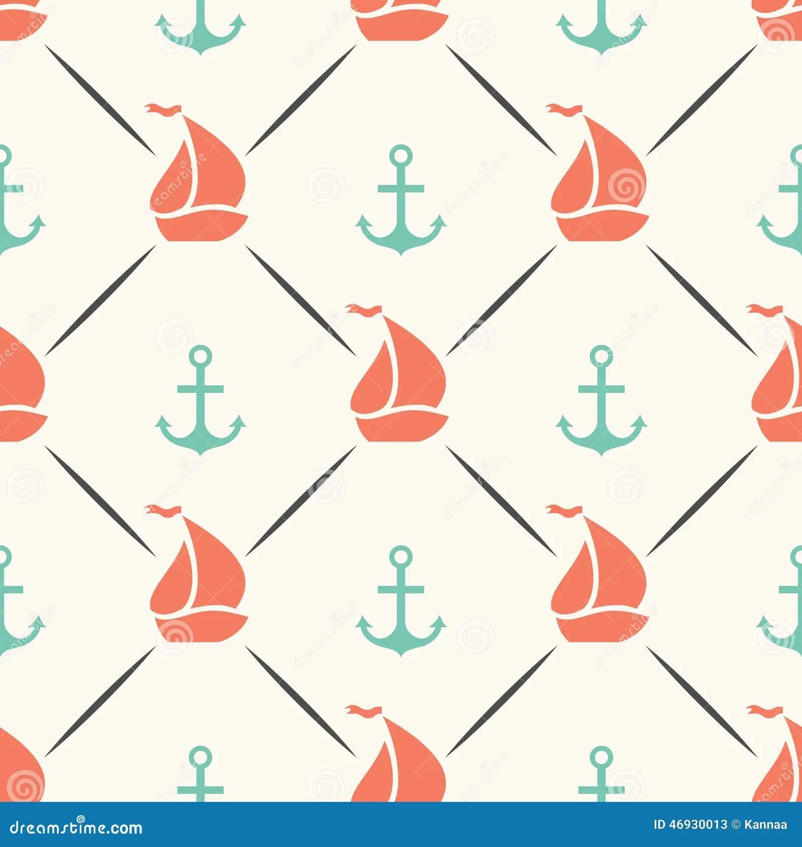 Black And White Polka Dot Wallpaper Border Seamless Vector Pattern Of Anchor Sailboat Shape Stock
