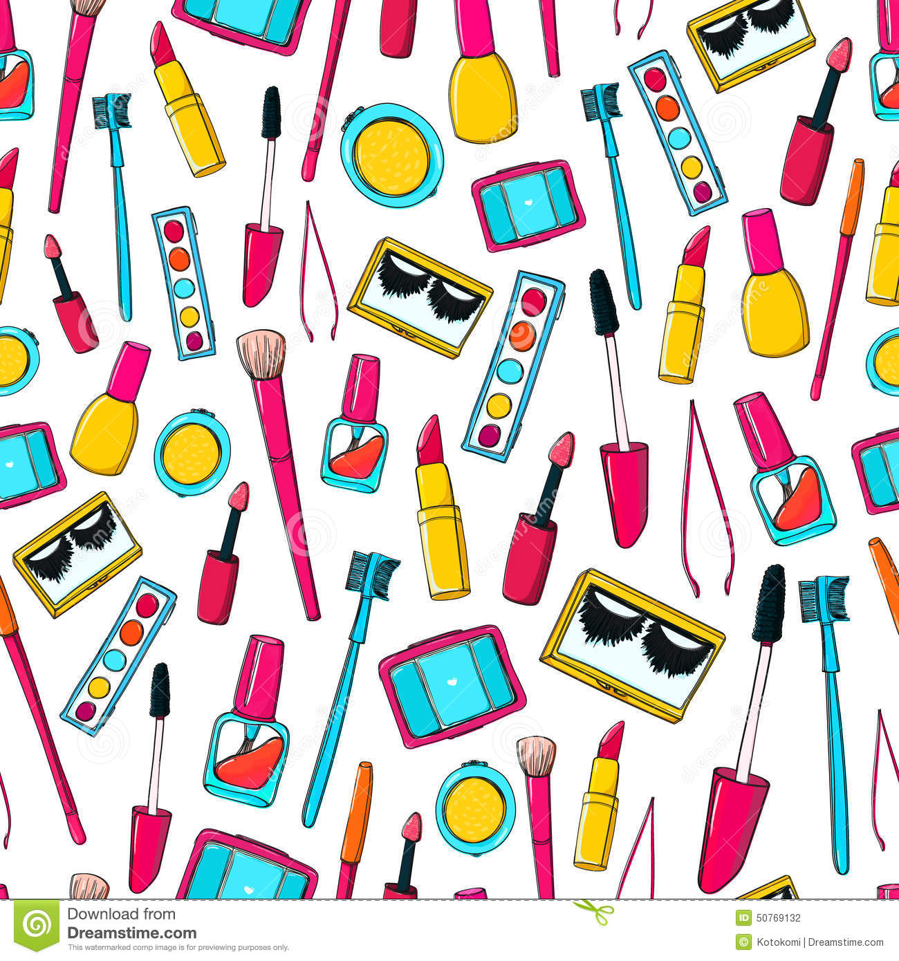 Cute Kid Wallpapers Free Download Seamless Vector Pattern With Makeup Tools Brushes Stock