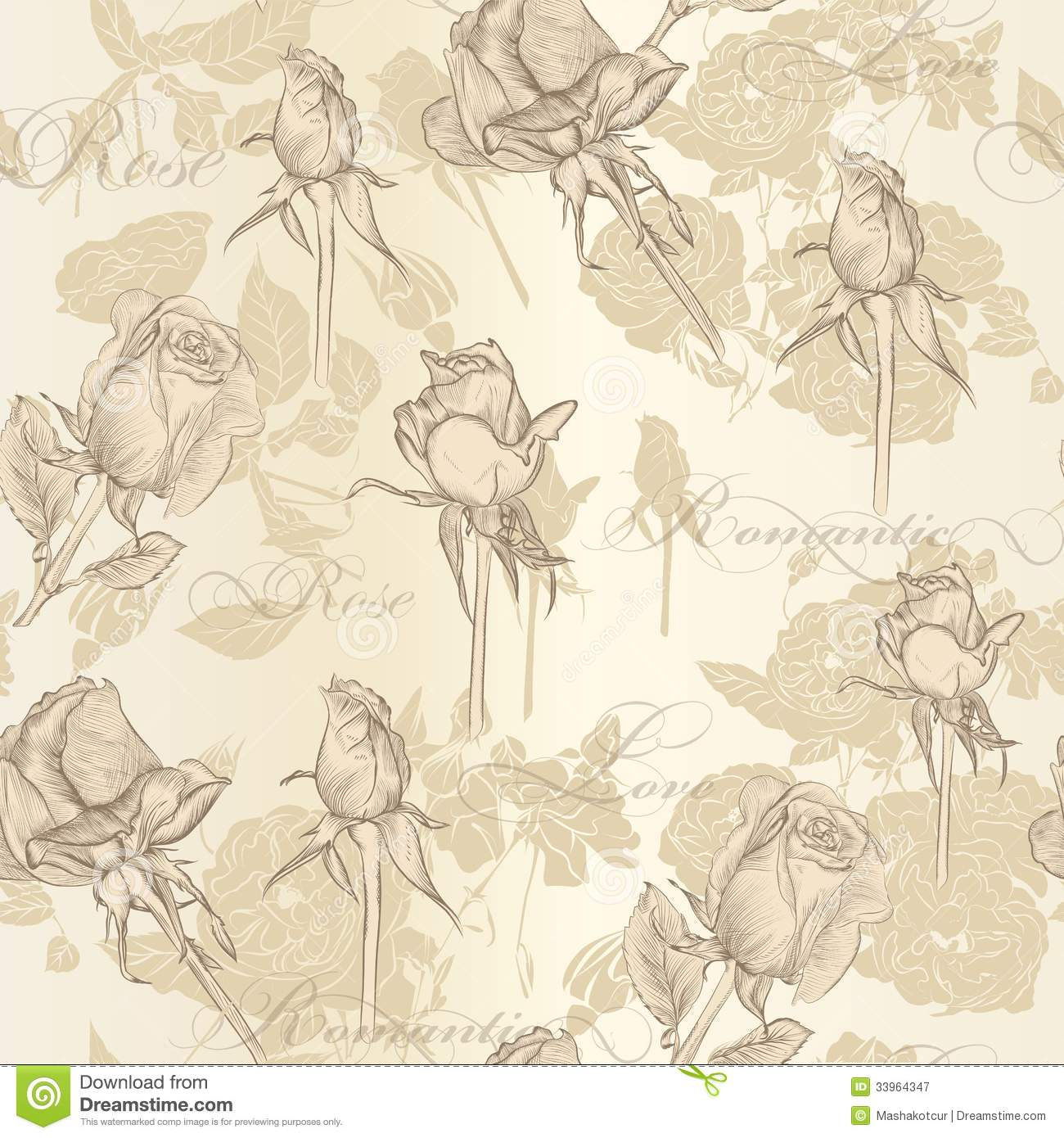 Vintage Style Wallpaper Seamless Vector Wallpaper With Roses In Vintage Style