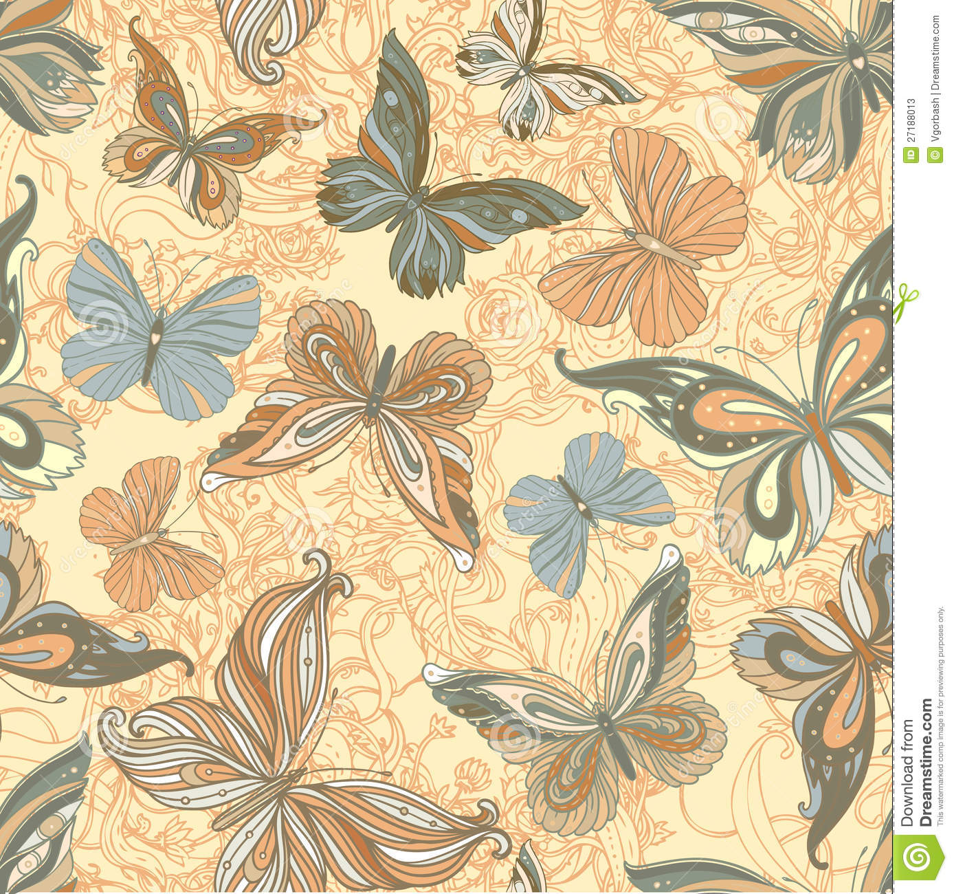 Free Country Fall Wallpaper Seamless Vintage Patterned Butterfly Background Stock