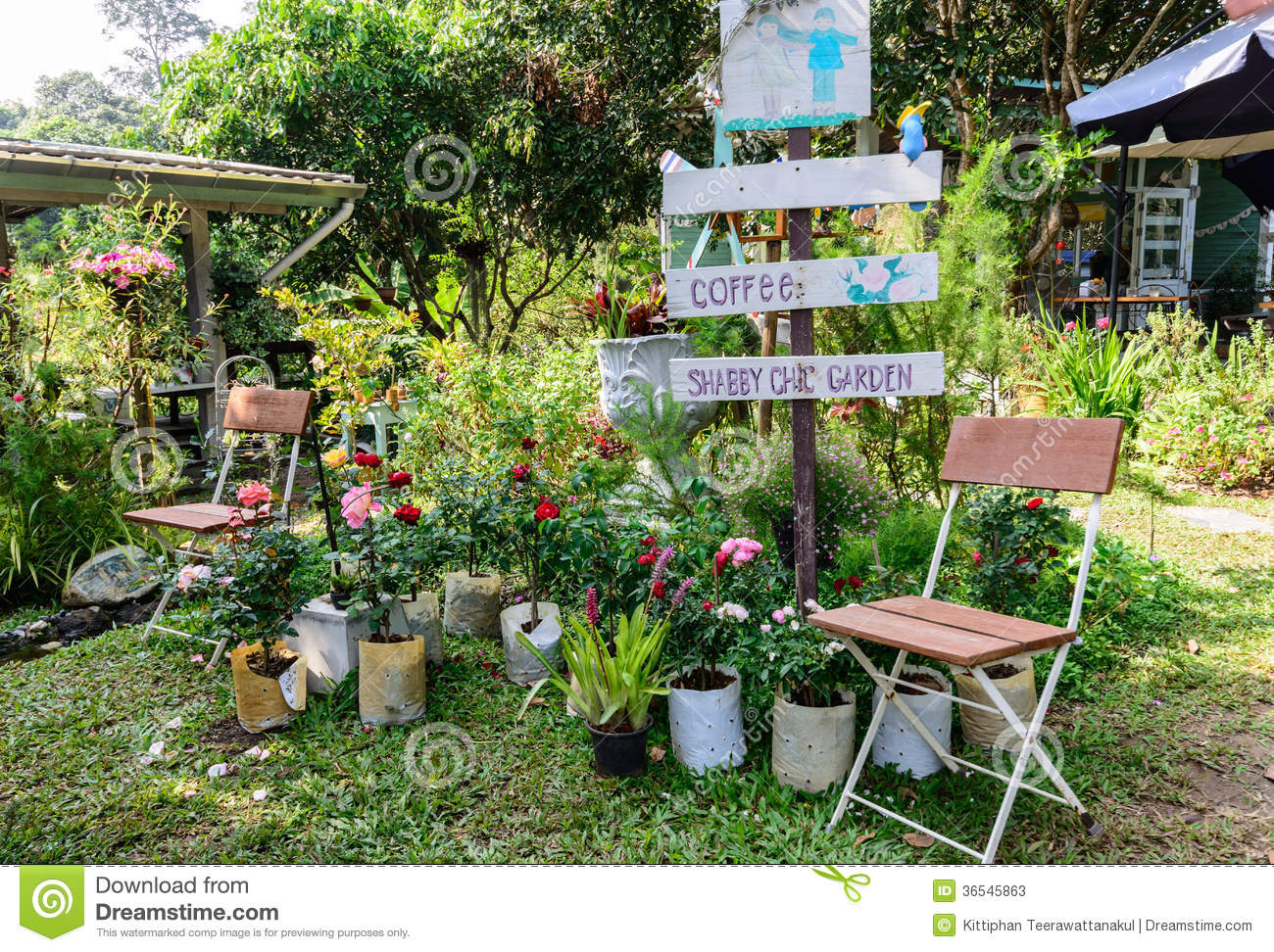 Coffee Shop Euro-garden Seating In Chic Garden Stock Image Image Of Green