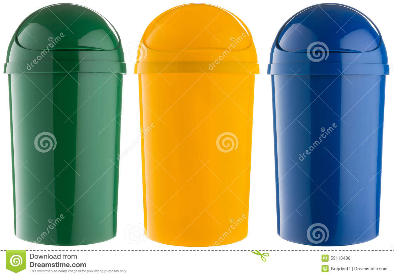 Colorful Garbage Cans Selective Trash Can Made Of Colored Plastic Stock Photo Image Of