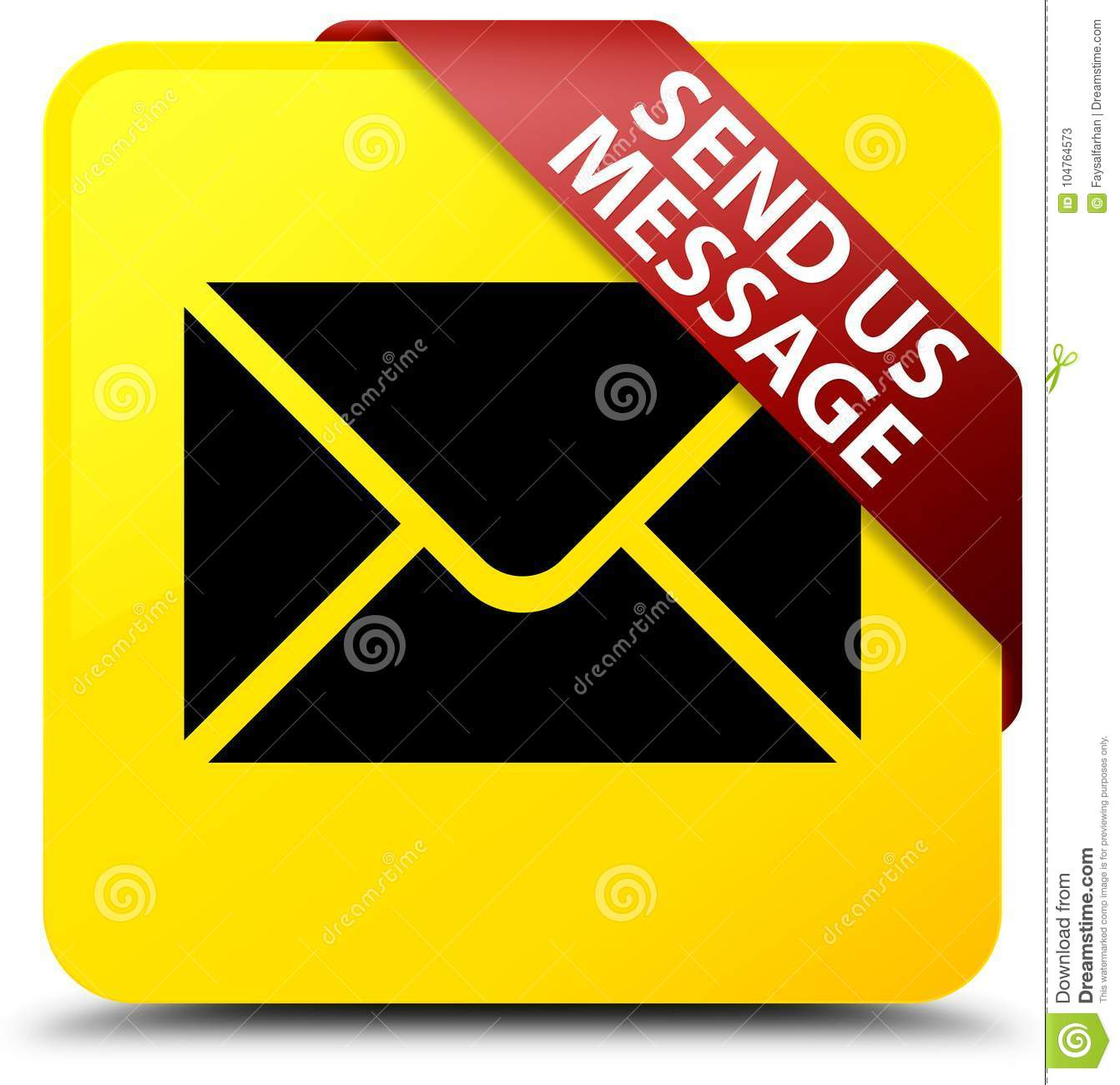 Email Icon Isolated On Special Yellow Square Button Abstract Send Us Message Yellow Square Button Red Ribbon In Corner