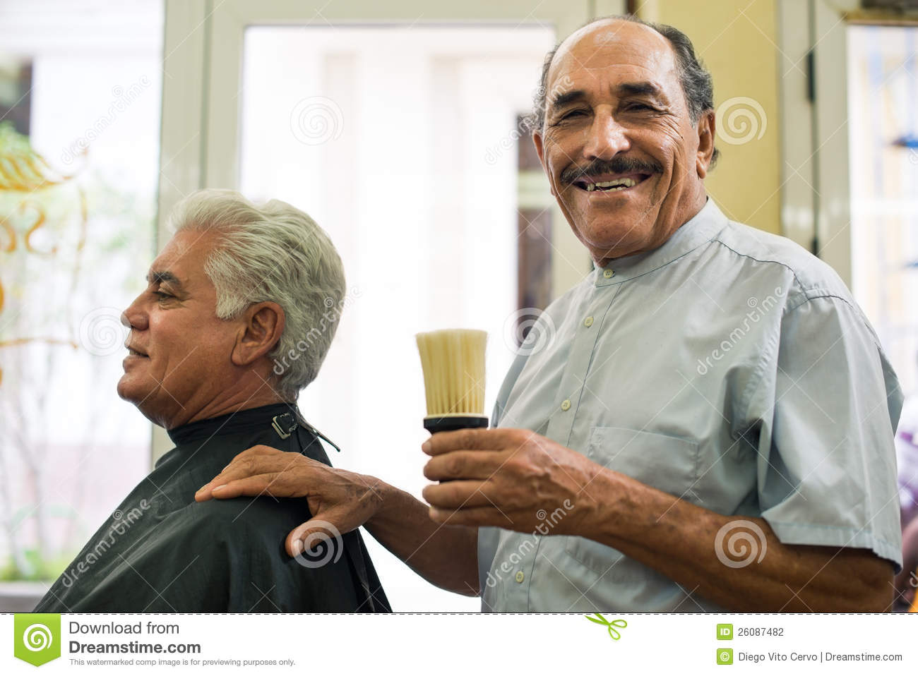 Salon Senior Senior Man Working As Barber In Hair Salon Stock Photo