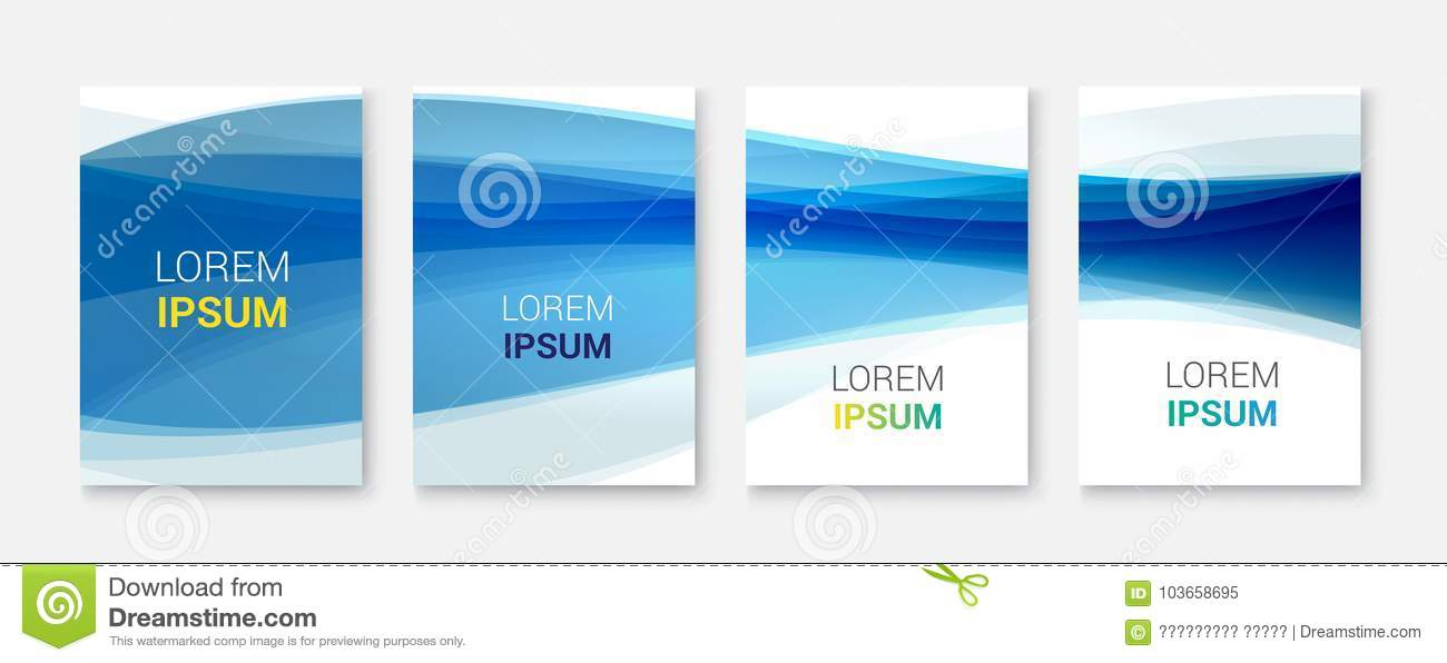 Set Abstract Blue Wave White Vector DesignVector Business Brochure