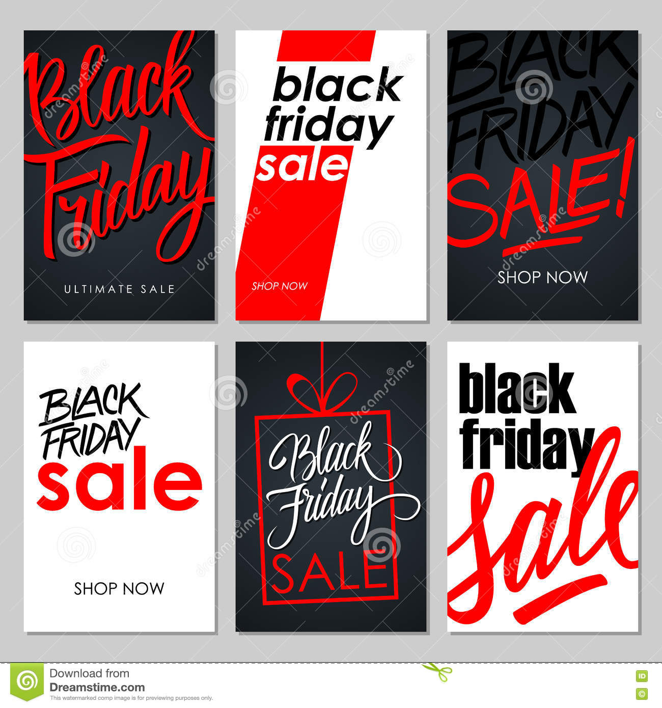 Friday Sale Set Of Black Friday Sale Flyers With Handwritten Elements