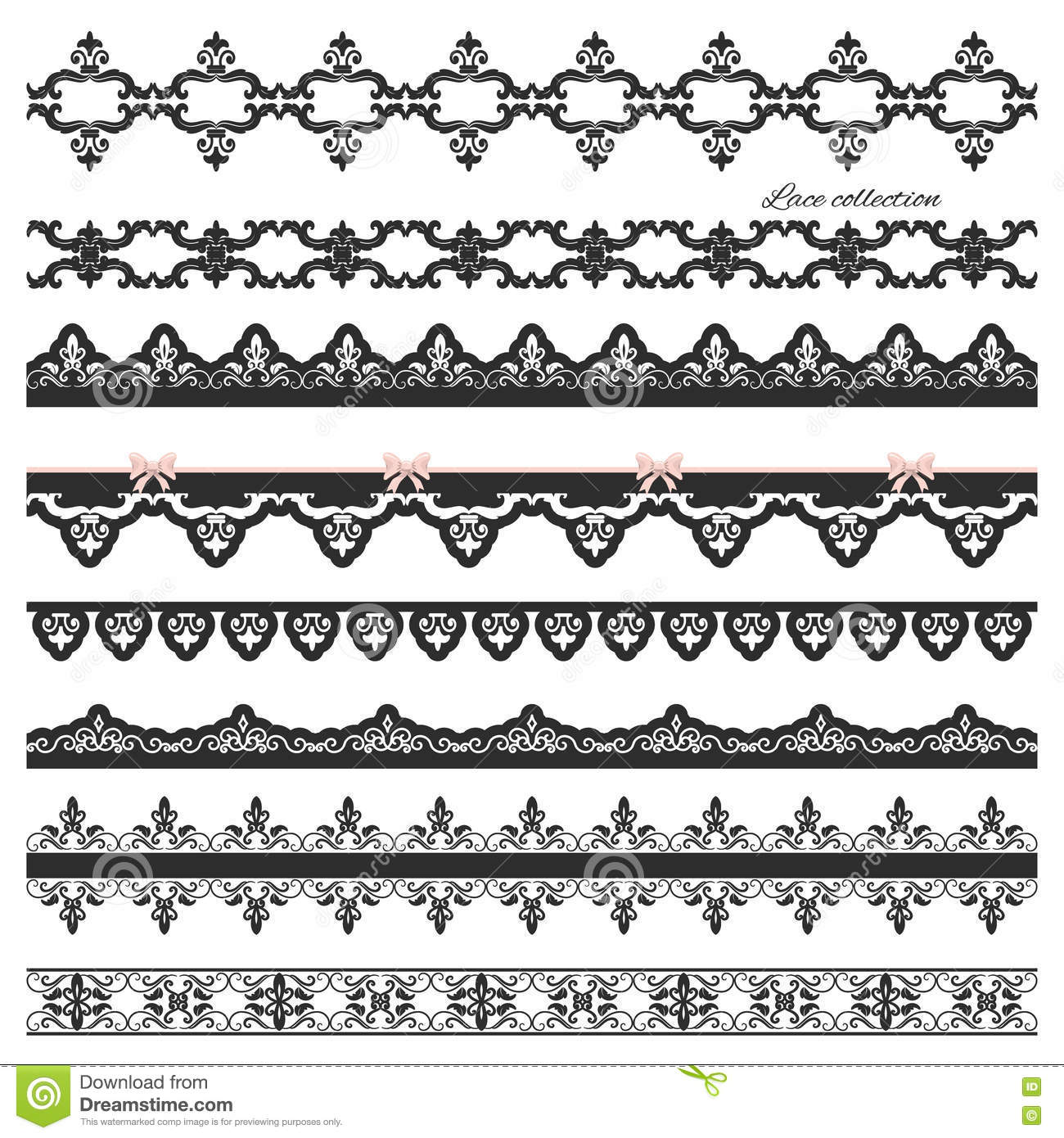 Set of black straight lace lines borders stock photo