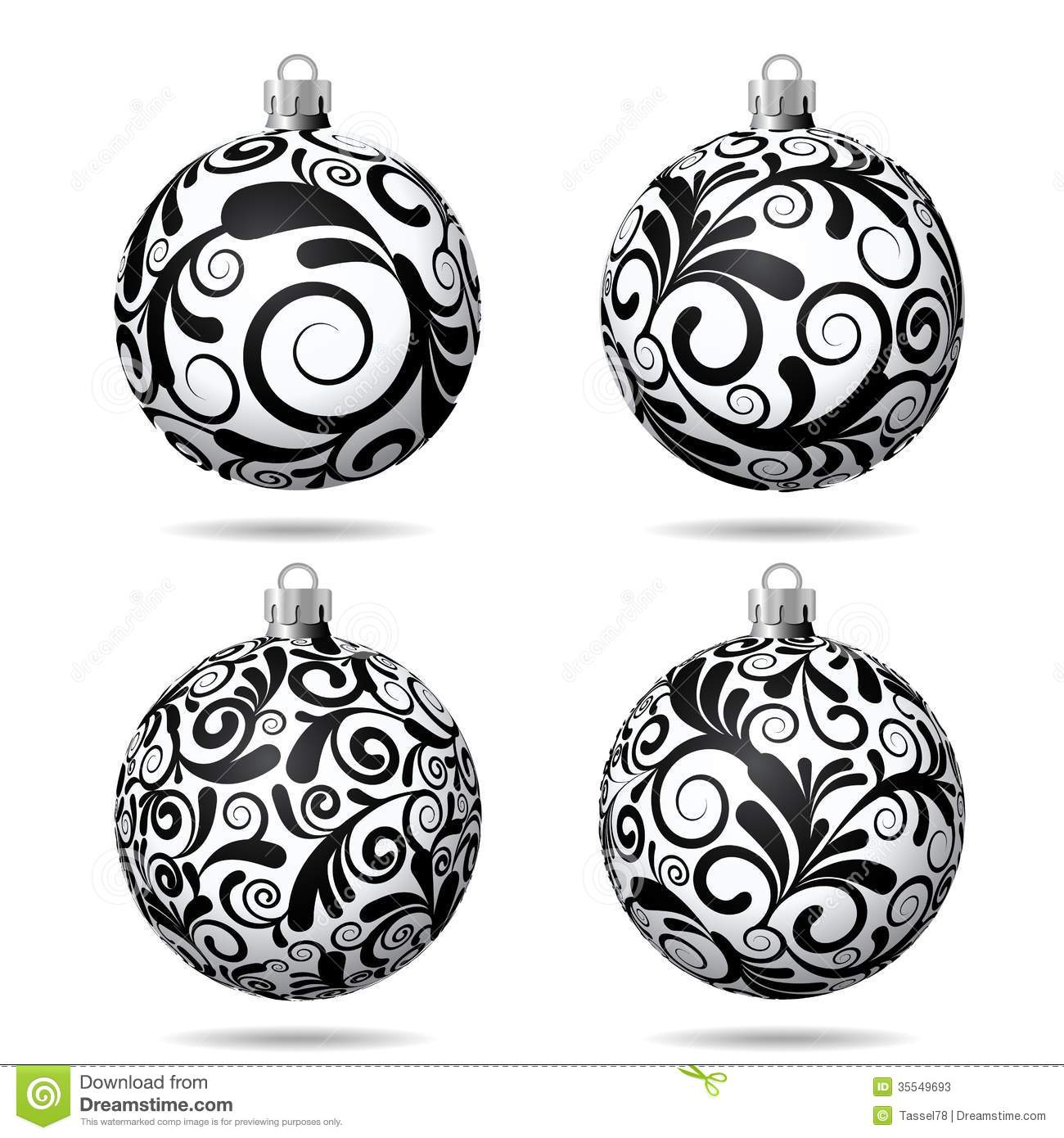 Christmas Ornament Clip Art Black And White Christmas Decoration Vector Black And White