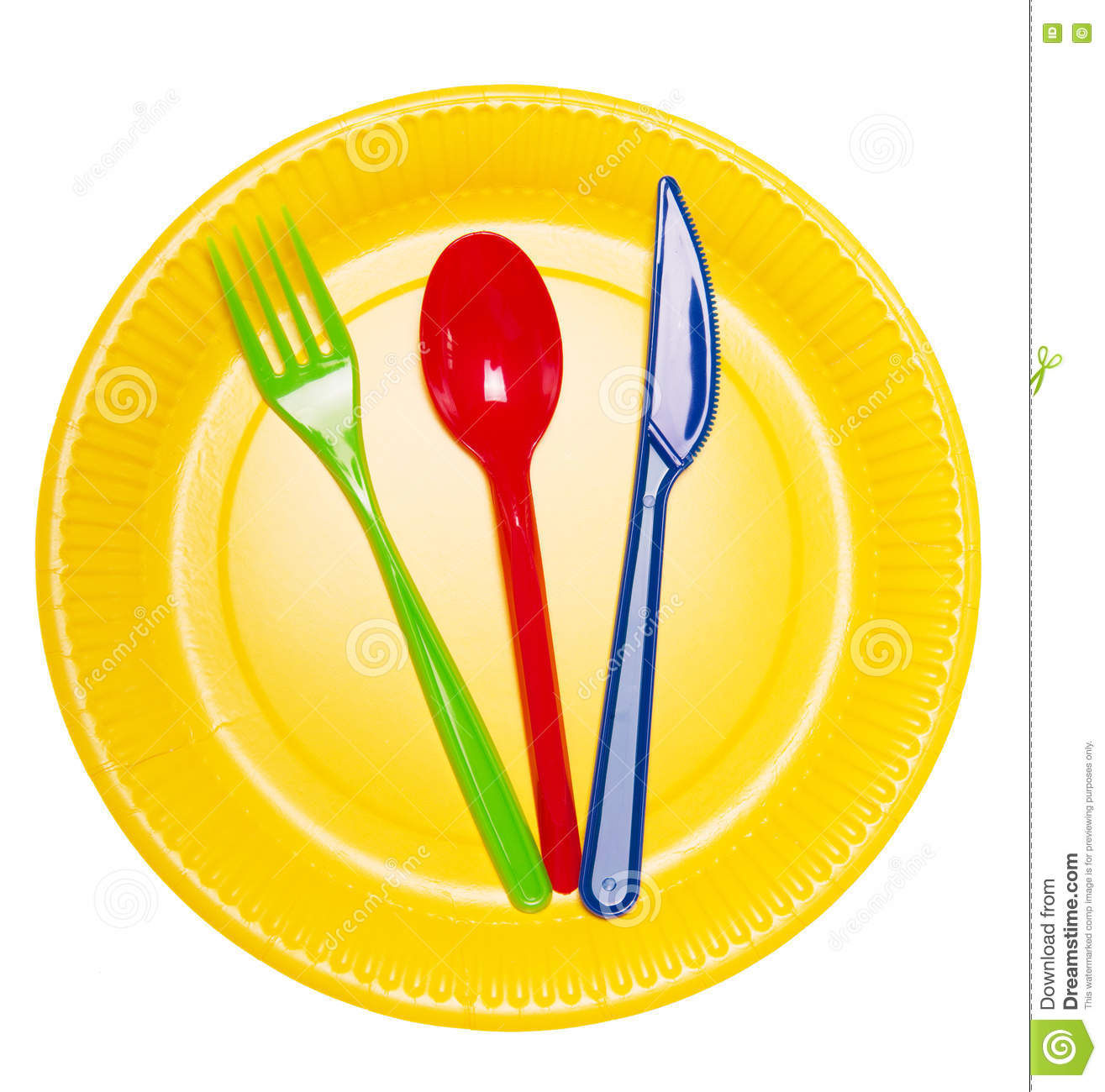 Tischgedeck Clipart Set Bright Disposable Dishes Plate Spoon Fork And Knife
