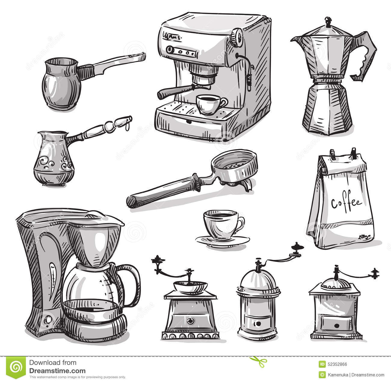 Coffee Art Maker Set Set Coffee Making Equipment Stock Vector Image 52352866