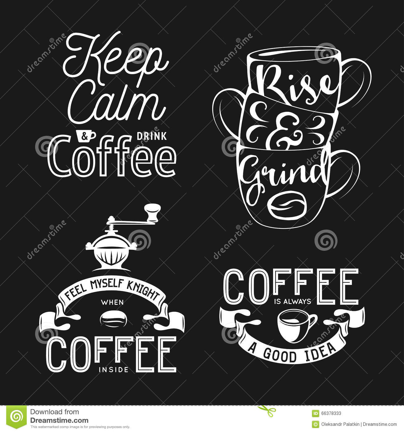 Coffee Latte Art Quotes Set Of Coffee Related Typography Quotes About Coffee