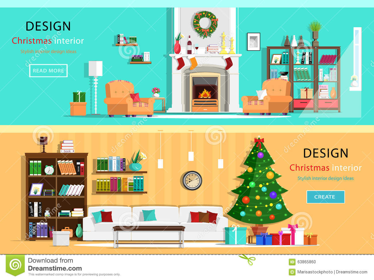 Christmas Interior Design Furniture Icons Cupboard Chair And Tv Table Cartoon