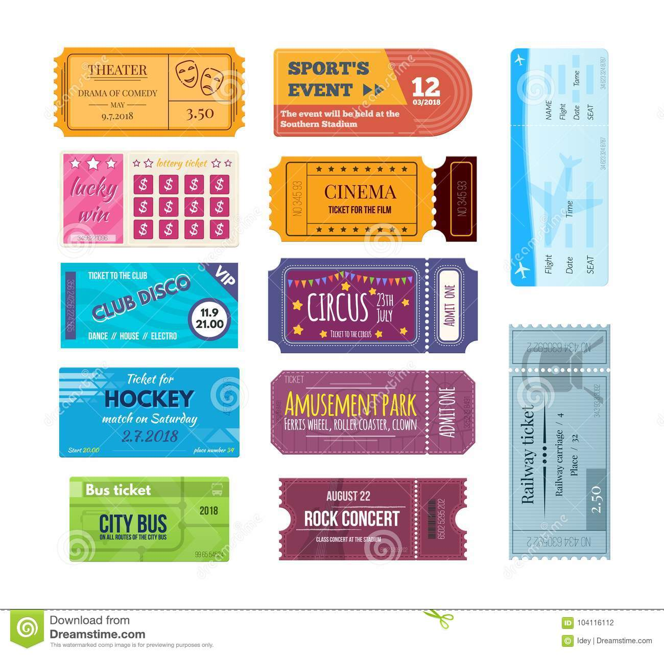 Movie Park Coupon Set Of Colorful Tickets And Coupons On Various Events Stock