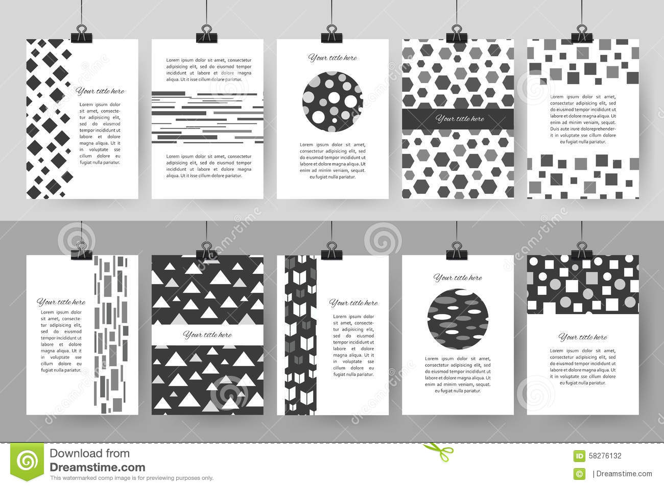 Best Black And White Posters Set Of Creative Black And White Vintage Cards Stock Vector