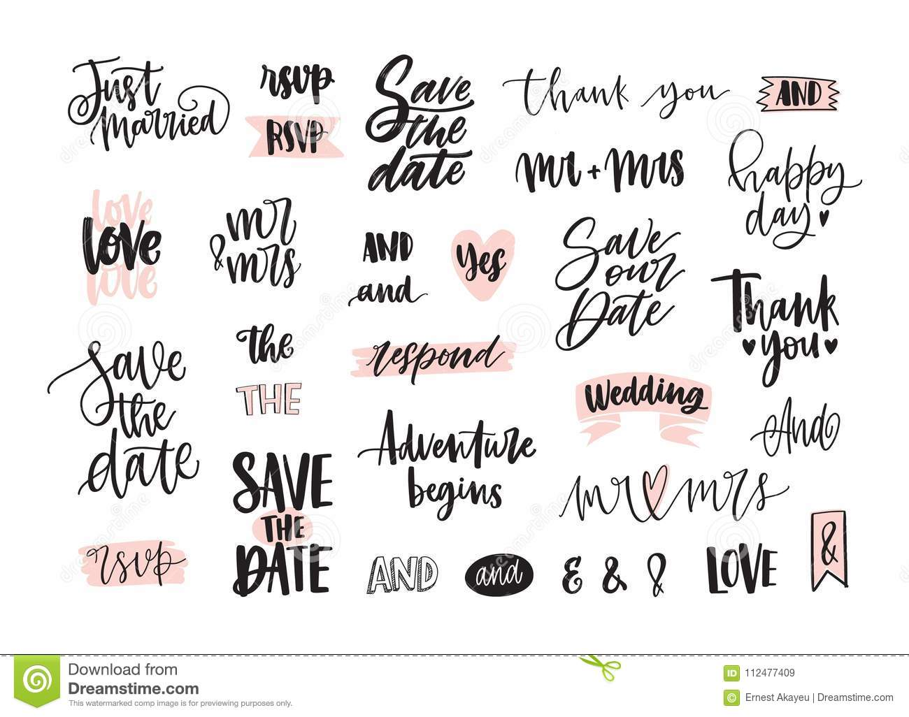 Set Of Creative Wedding Lettering Or Inscriptions Written With Decorative Calligraphic Font Bundle Of Phrases Words Stock Vector Illustration Of Romantic Creative 112477409