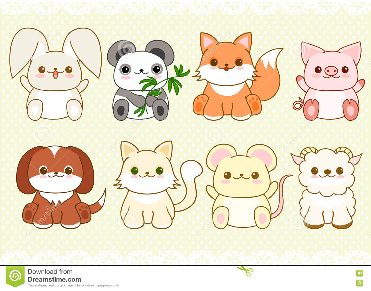 Cute Baby Pig Wallpaper Set Of Cute Baby Animals In Kawaii Style Stock Vector