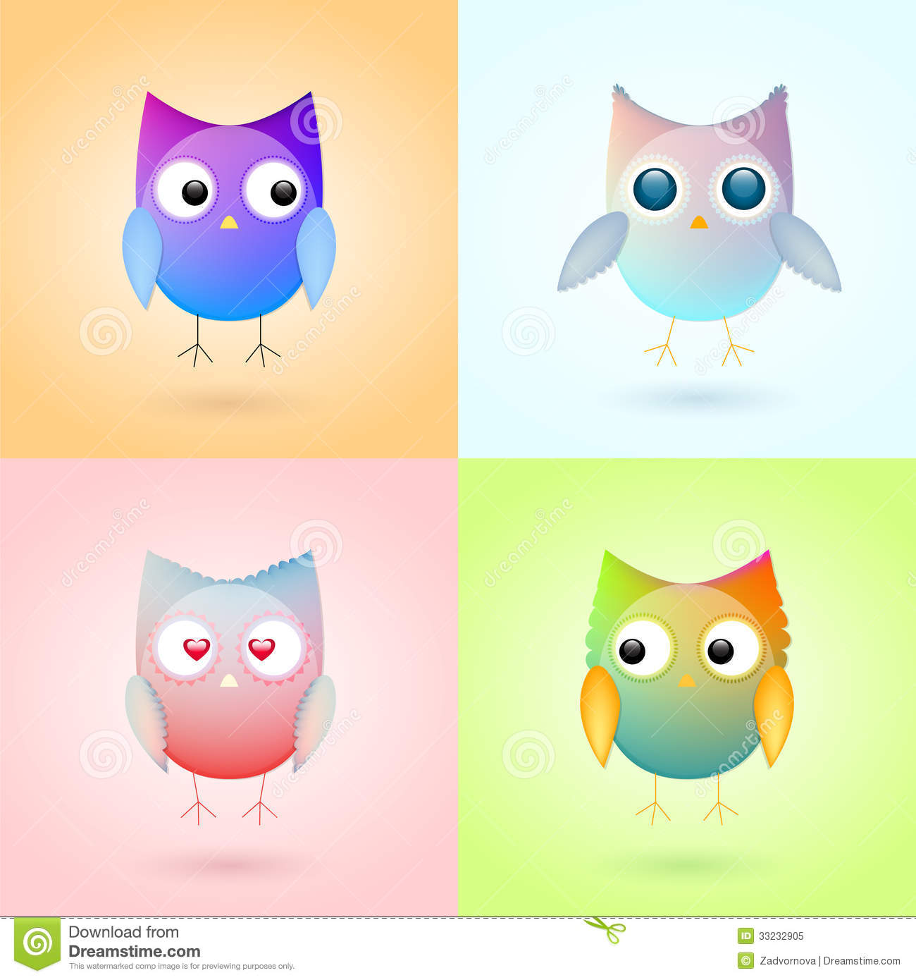 Colorful Pictures Of Owls Cute Colorful Owls