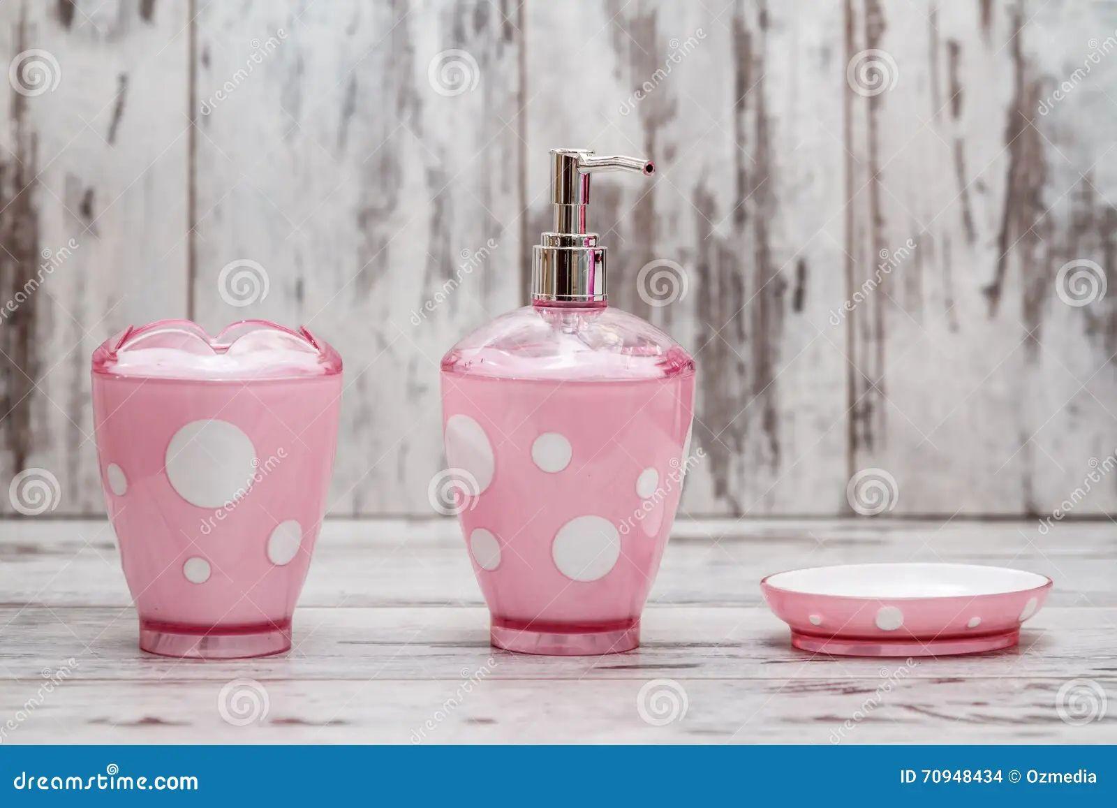 Bathroom pink set white
