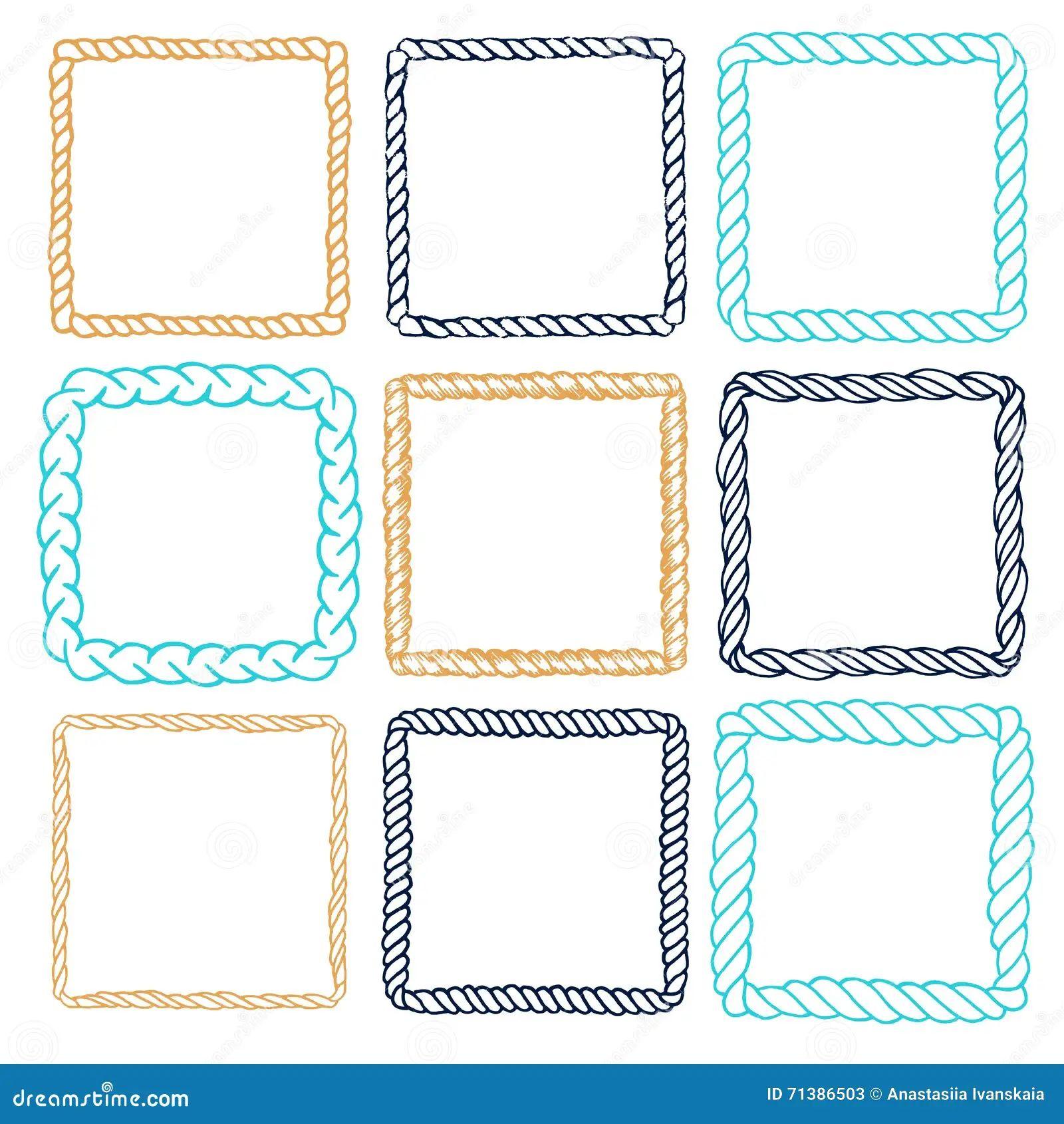 Set of 9 decorative square border frames stock vector
