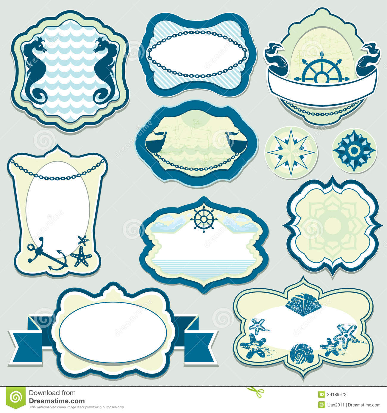 Bad Set Vintage Set Of Design Elements Marine Themes Frames Bad Stock