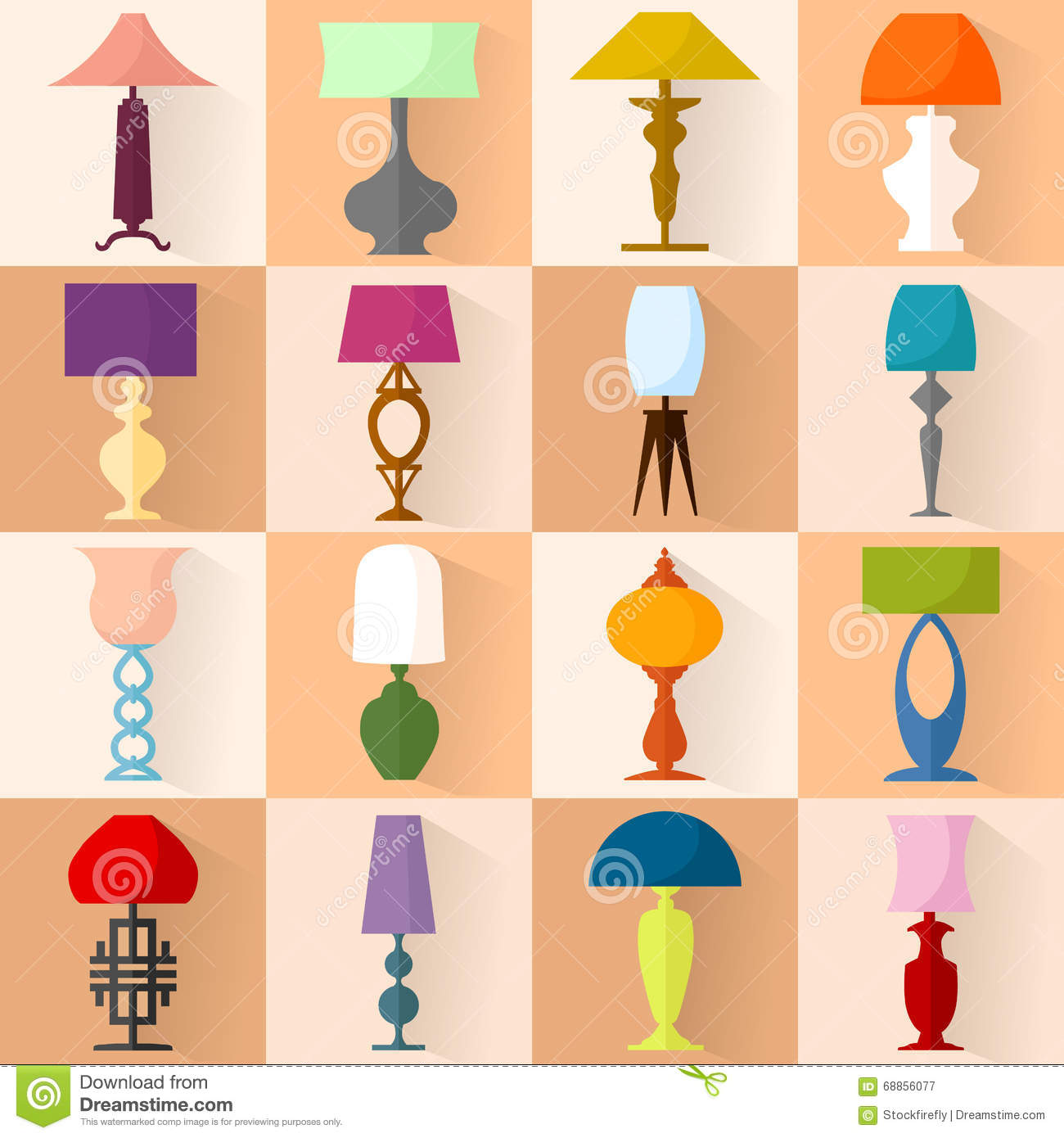 Staande Schemerlampen Modern Icon Set Of Lamps Modern Flat Style Royalty Free Stock