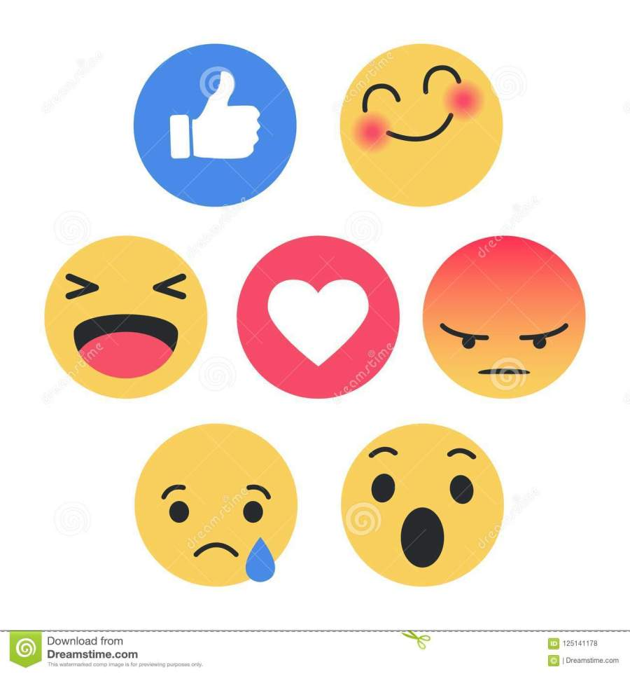Set of Emoticon with Flat Design Style, social media reactions