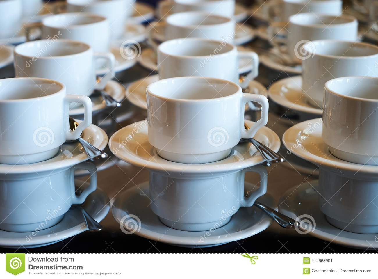 White Ceramic Coffee Cups Set Of Empty White Ceramic Tea Or Coffee Cup And Saucers