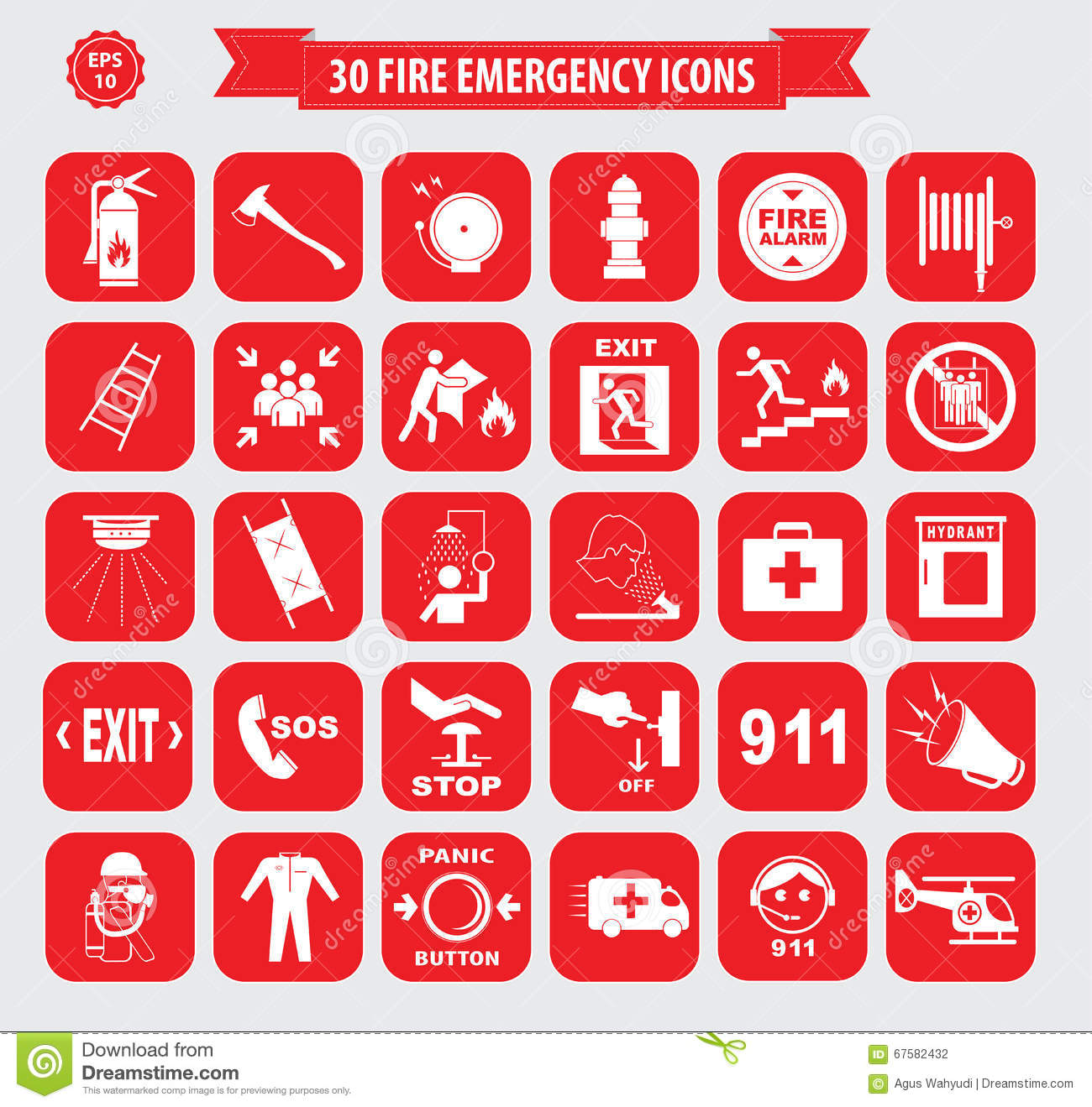 Set Of Fire Emergency Icons Stock Illustration Image