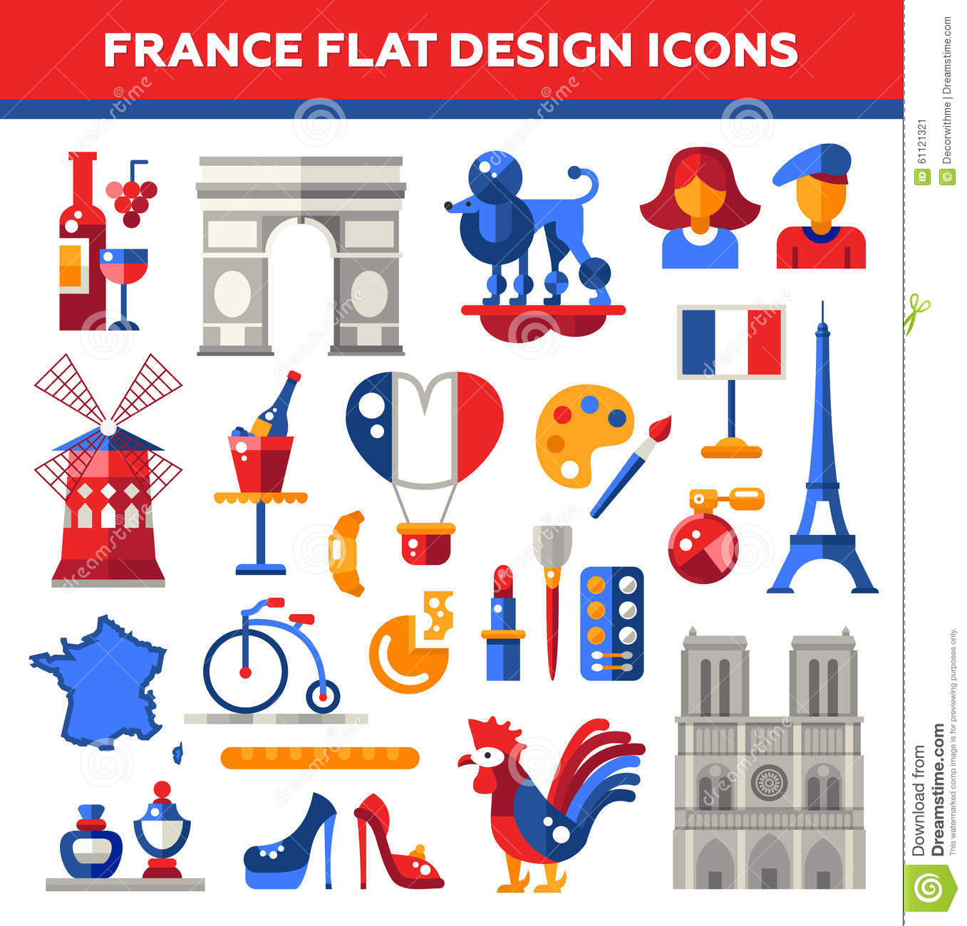 Design France Set Of Flat Design France Travel Icons Stock Vector