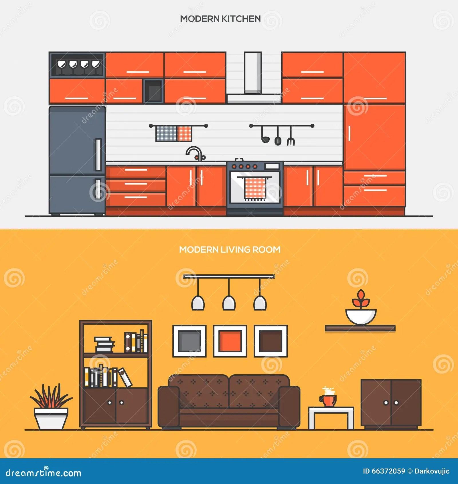 set flat line color banners design concepts modern kitchen modern living room web banner printed materials 66372059