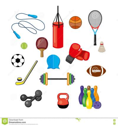 Set Of Flat Sports Equipment Icons For Gym Training ...