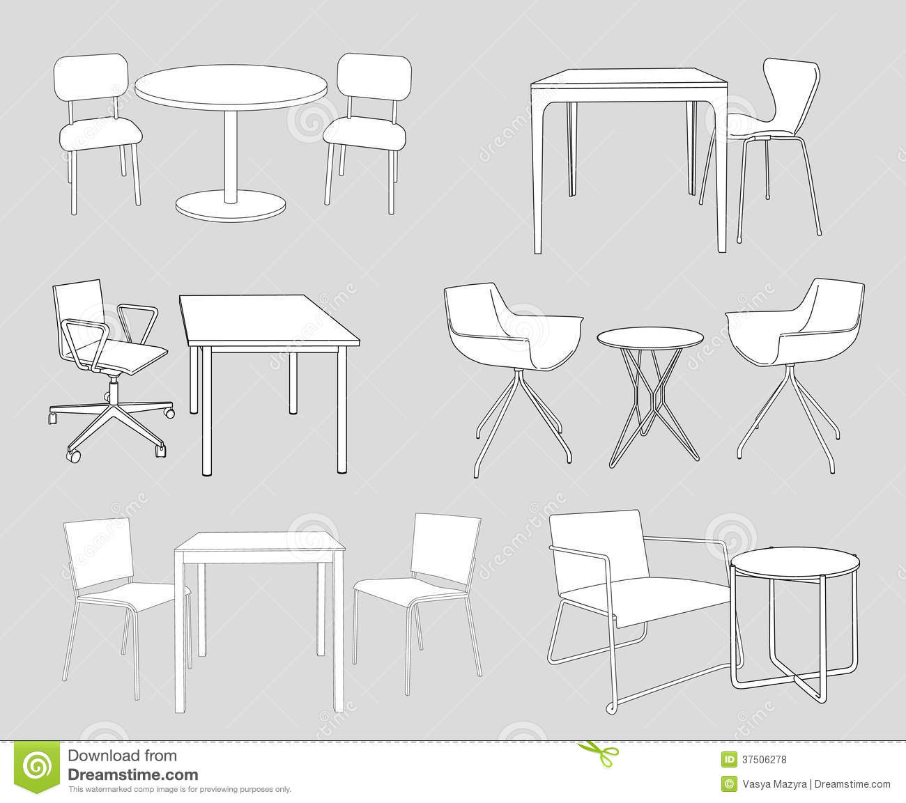 Set of furniture tables and chairs sketch vector royalty