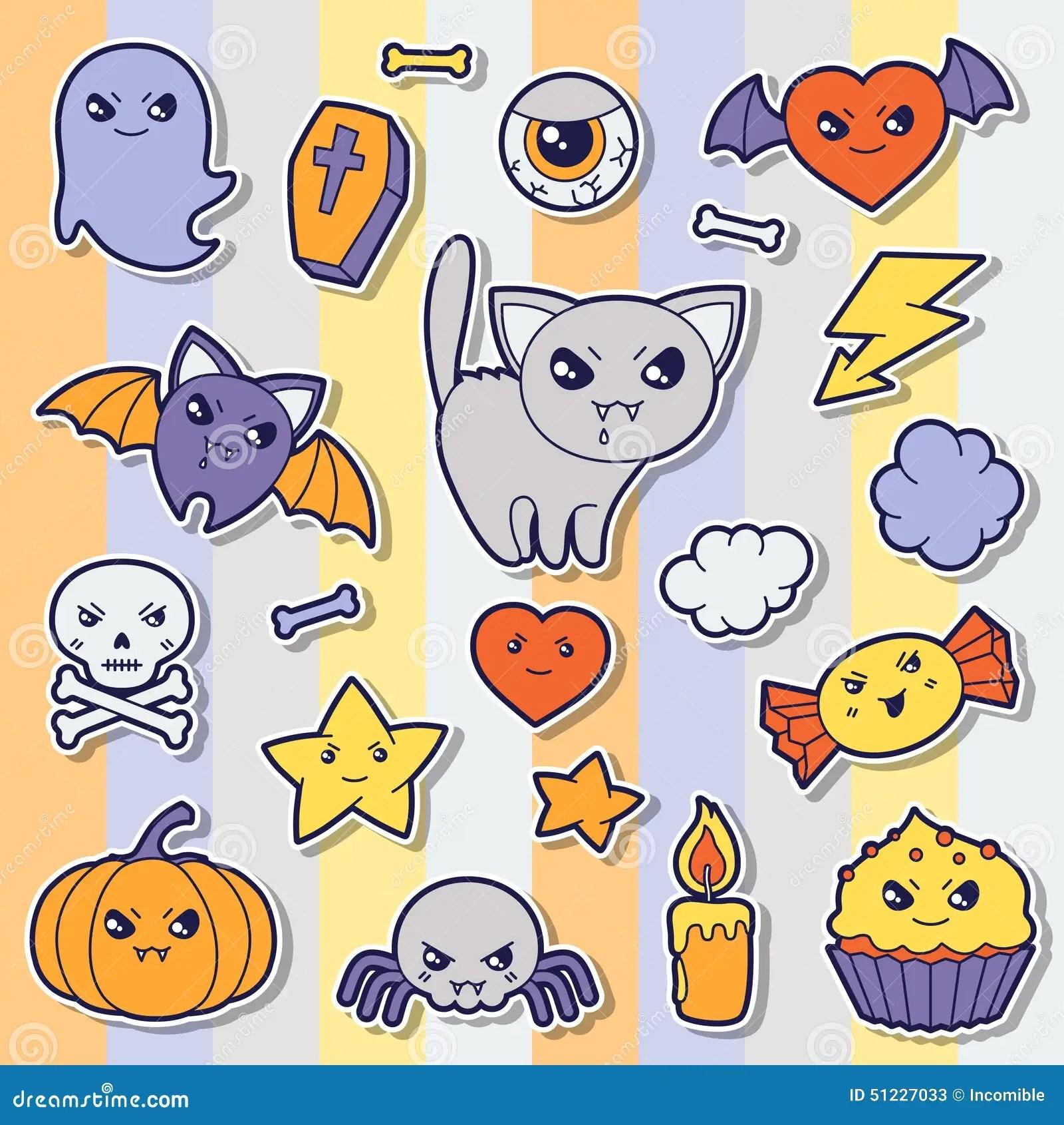 Fall Scenes Wallpaper With Pumpkins Set Of Halloween Kawaii Cute Sticker Doodles And Stock