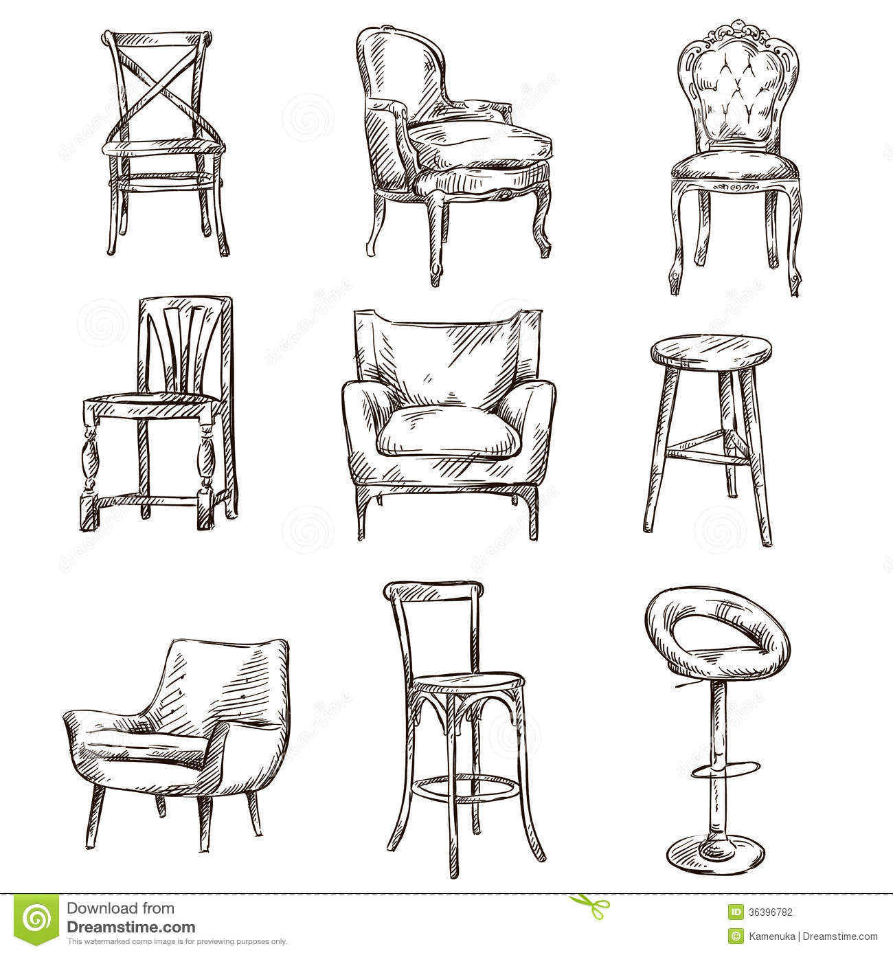 Schreibtischstuhl Vintage Set Of Hand Drawn Chairs Stock Vector. Illustration Of