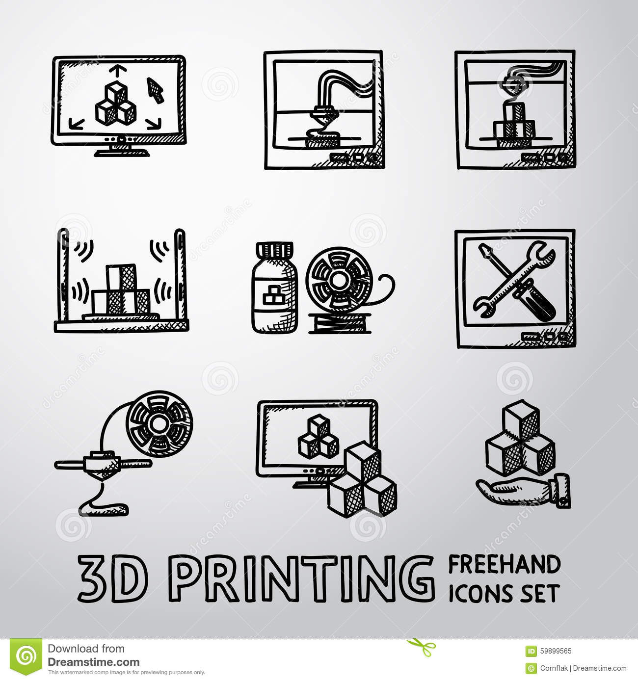 D Print Set Of Handdrawn 3d Print Icons Printers Pc Stock Vector