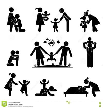 Set Of Happy Family Icons. Vector Pictogram Illustration ...