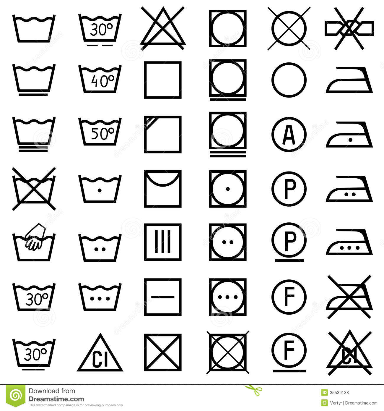 set of icons on clothing label royalty free stock photos auto