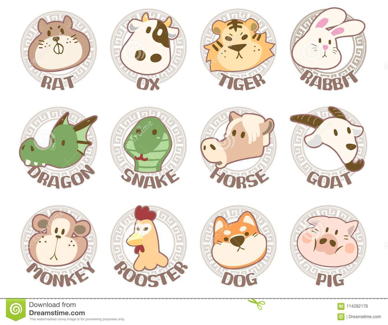 Zodiac Signs Set Illustration With Chinese Zodiac Signs Stock Illustration