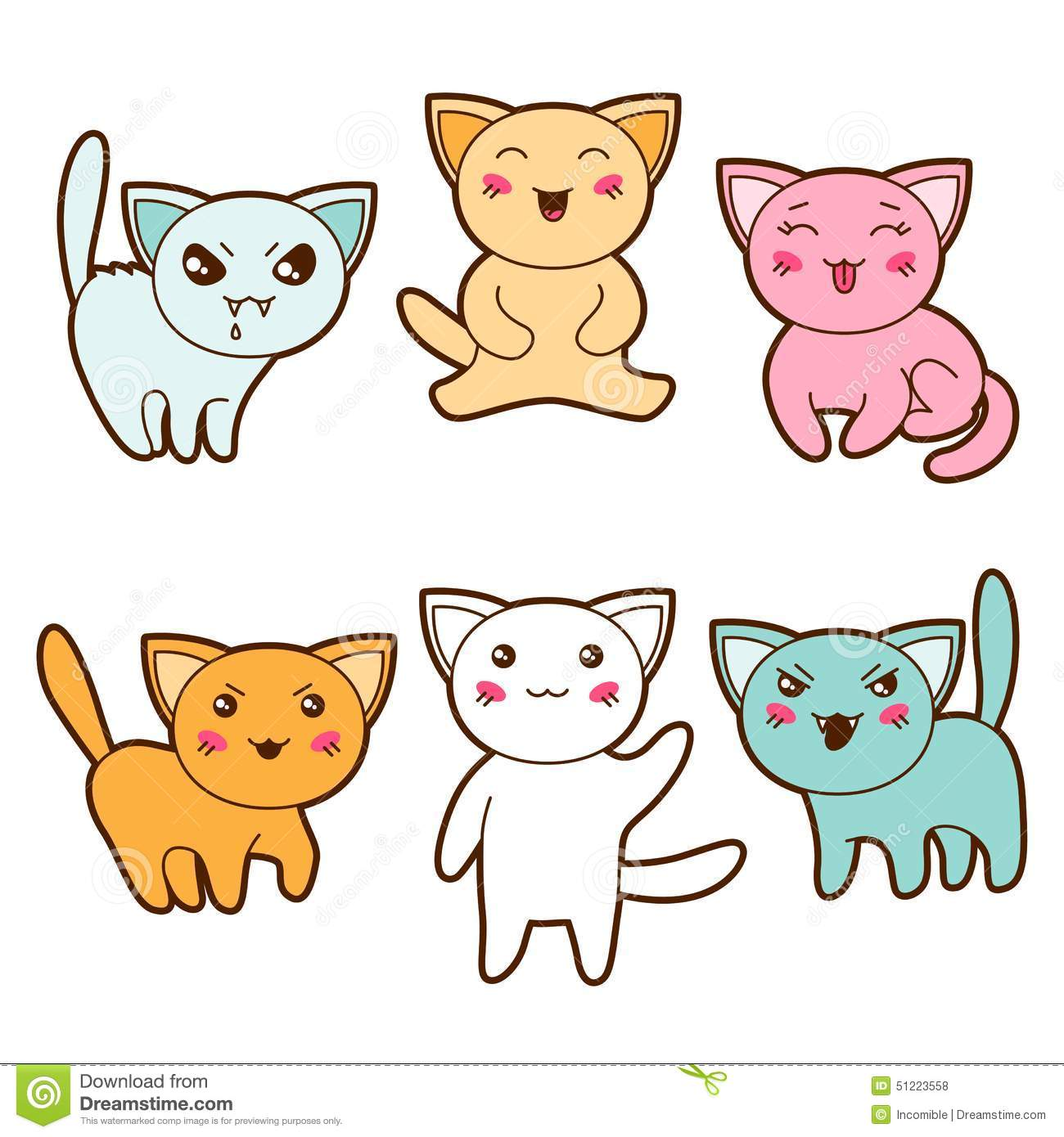 Cute Nutella Wallpaper Set Of Kawaii Cats With Different Facial Stock Vector