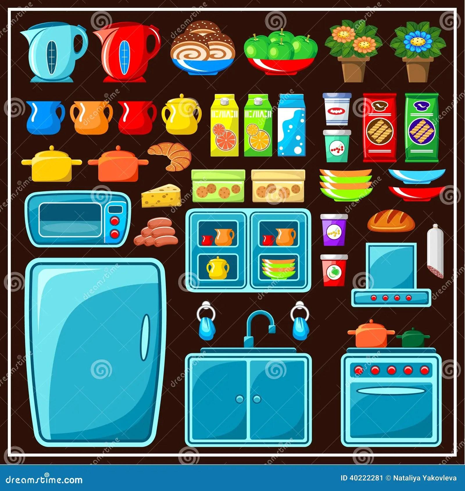 set kitchen furniture kitchen items stock vector image modular kitchen furniture kolkata howrah west bengal price