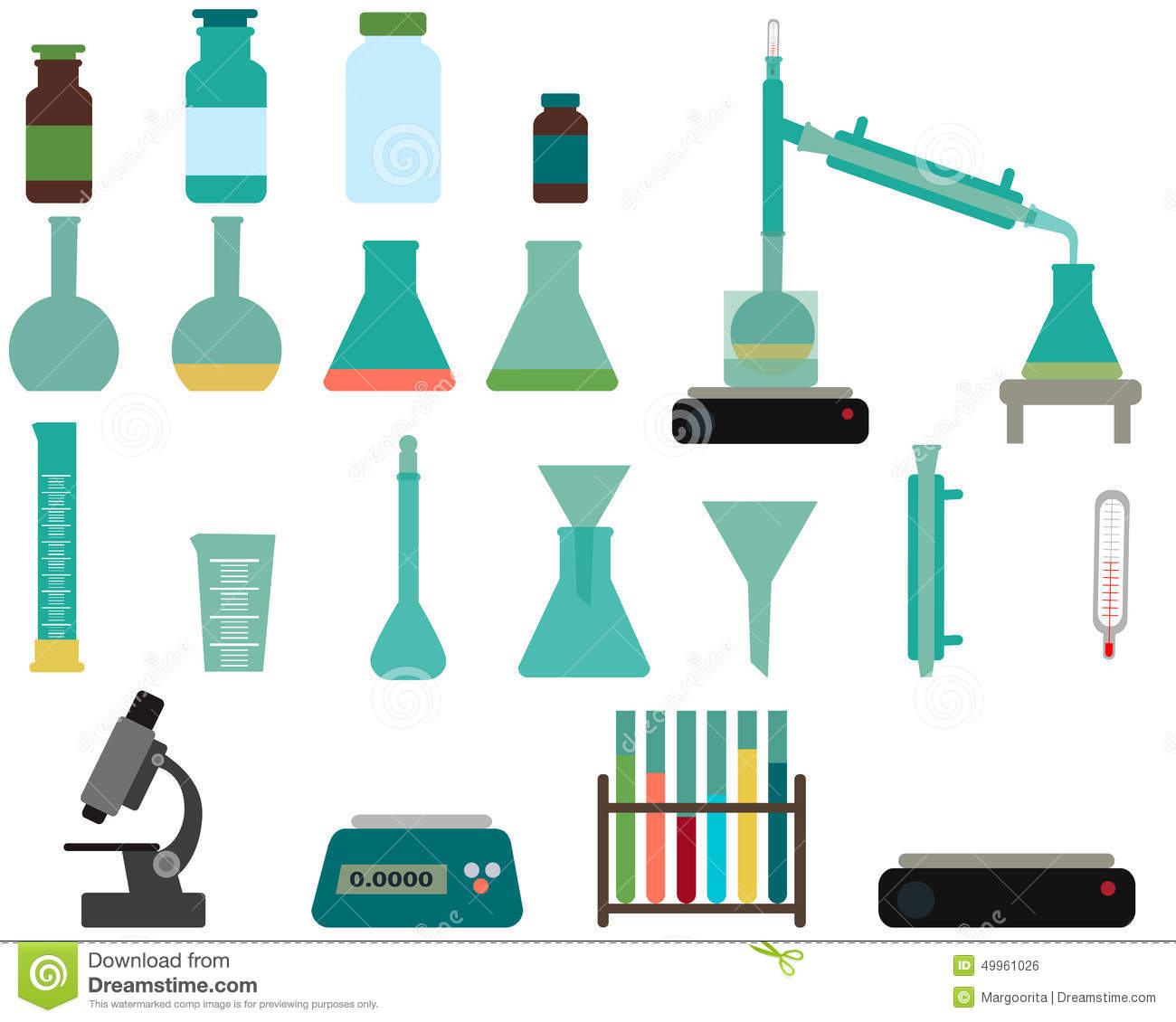 Cork Laboratory Apparatus Set Of Laboratory Equipment Stock Vector Image 49961026