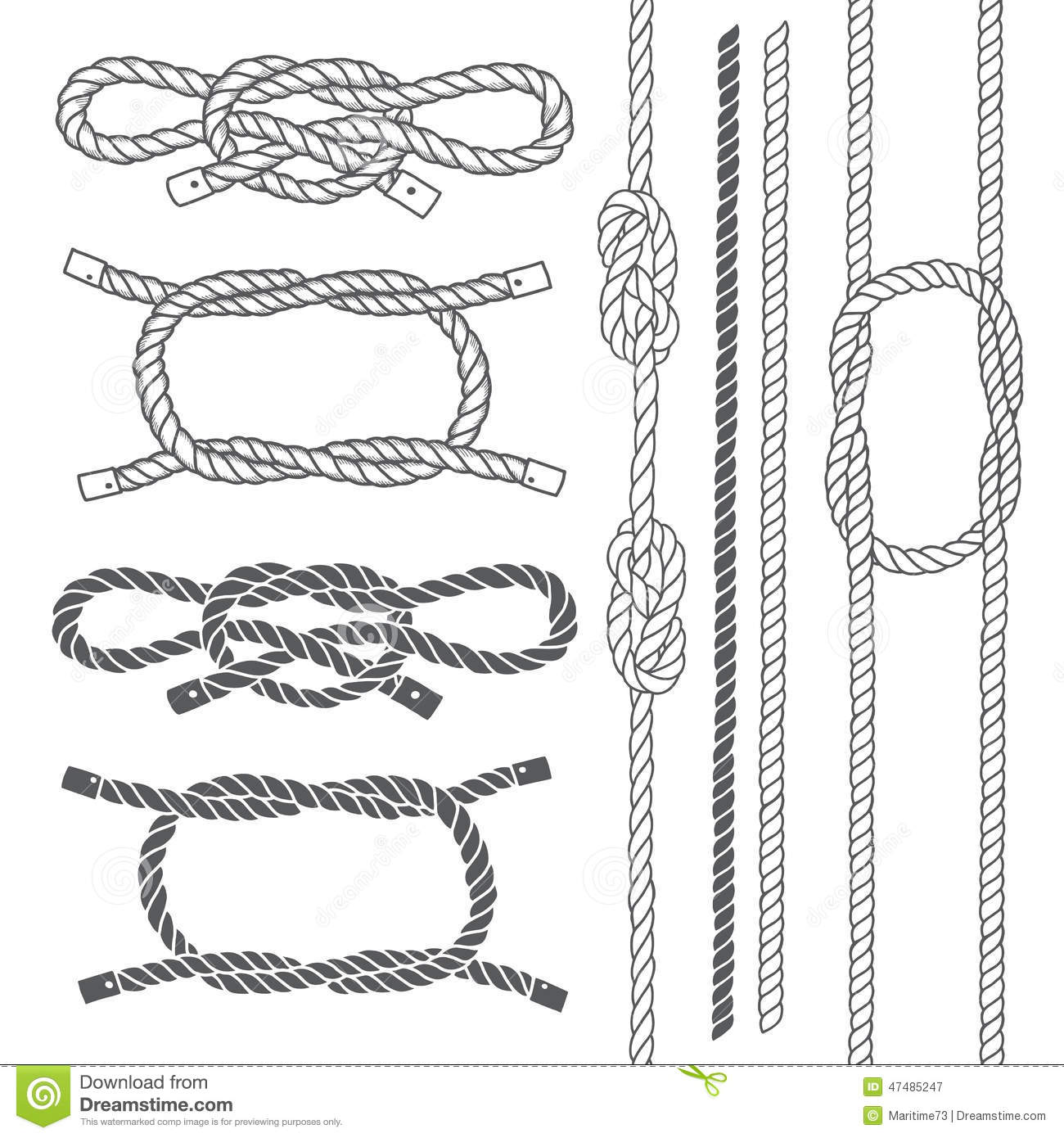 Cordage Marin Décoration Set Of Marine Rope Knots Vector Elements On A White