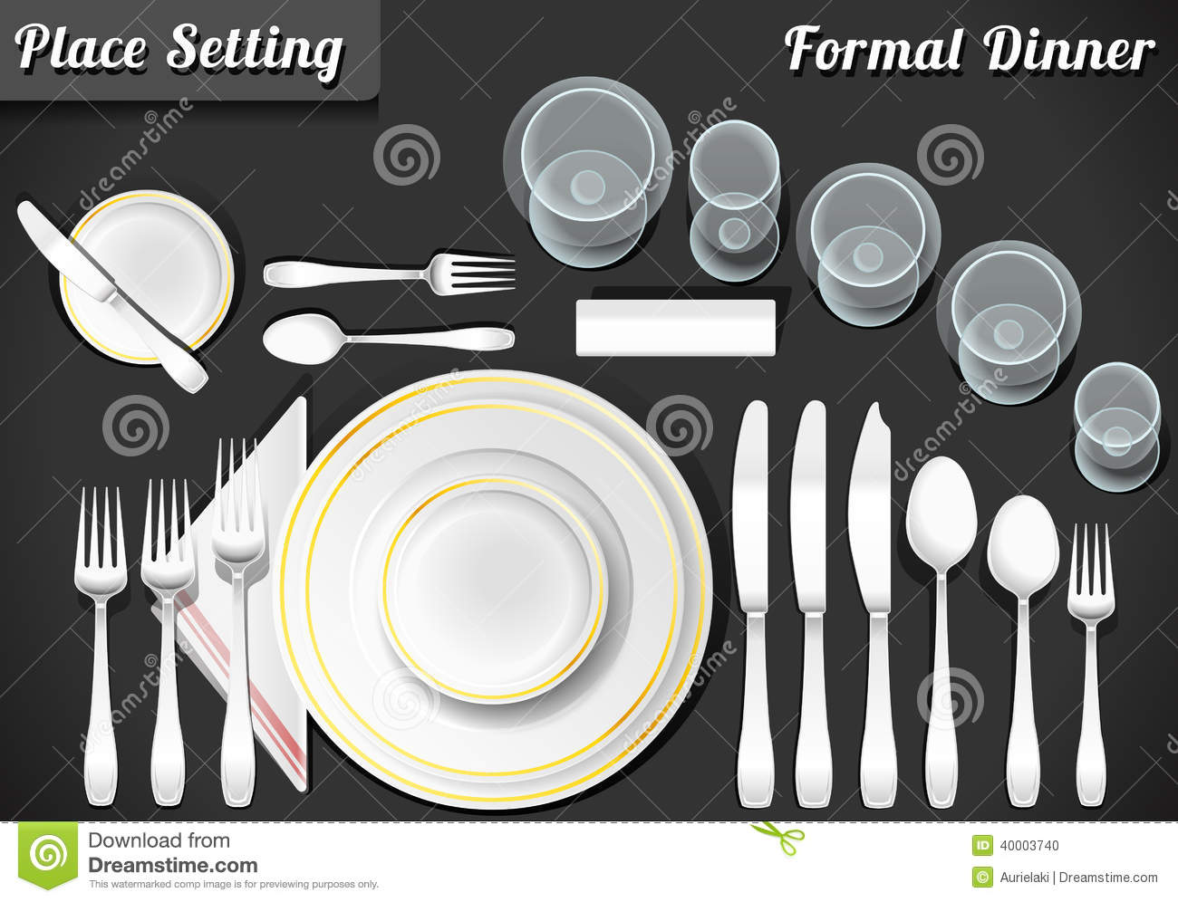 Tischgedeck Clipart Set Of Place Setting Formal Dinner Stock Vector
