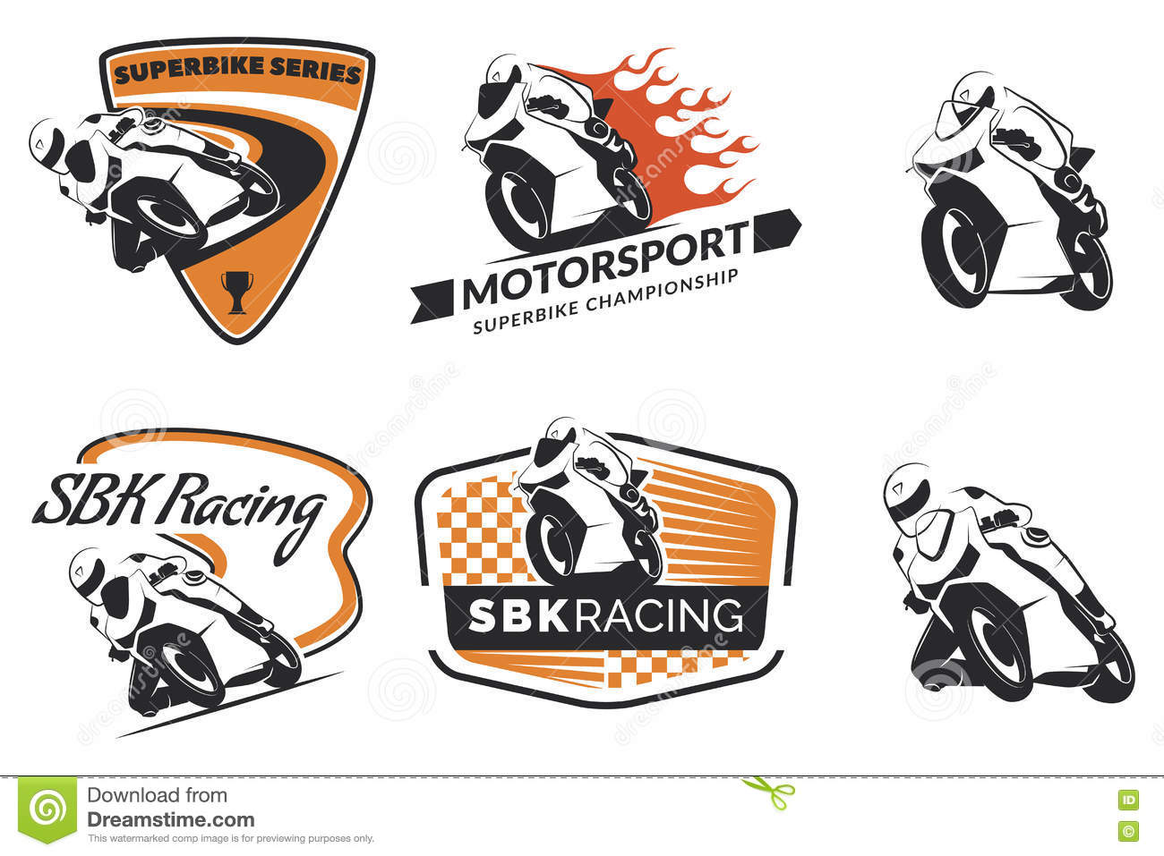 Motorcycle Racing Logo Design Set Of Racing Motorcycle Logo Badges And Icons Stock Vector